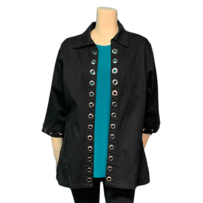 Black plus size designer top with grommets