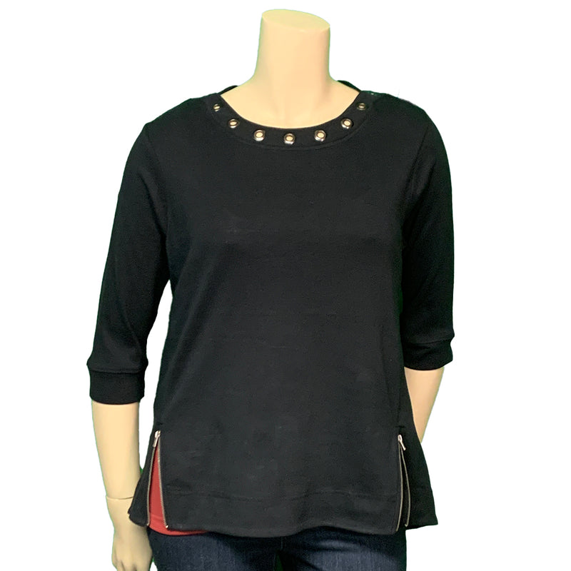 Black plus size  top with grommets and zippers