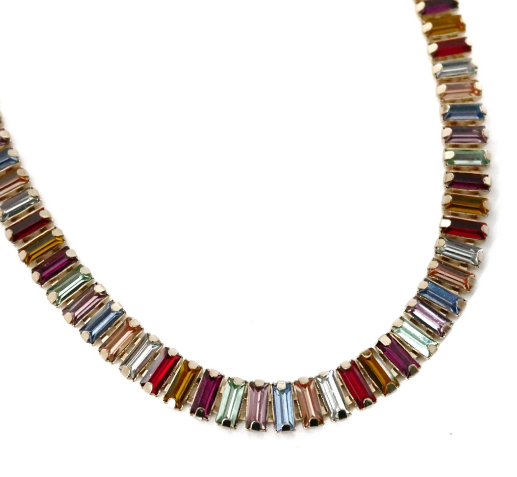 Rainbow Baguette Stone Necklace