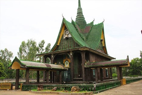 Wat Pa Maha Chedi Kaew, also known as the Temple of a Million Bottles
