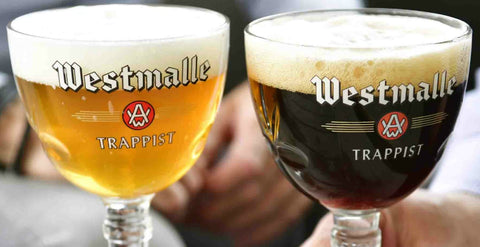 Glasses of a dubbel and a trippel beer