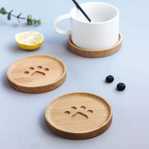 wood coasters on a table