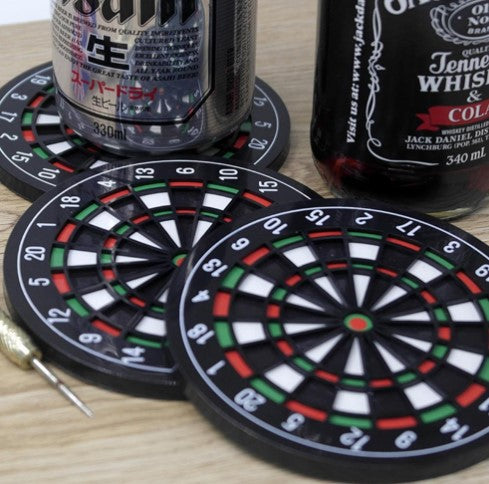 3 coasters in a shape of dart boarders