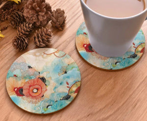 cork coasters on a table - flowery design 12