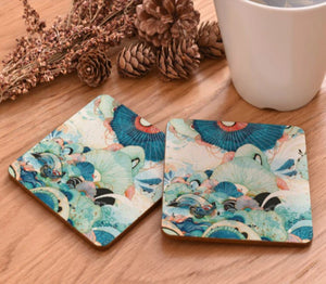 cork coasters on a table - flowery design 15