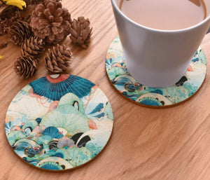 cork coasters on a table - flowery design 16