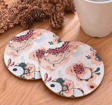 Load image into Gallery viewer, cork coasters on a table - flowery design 18