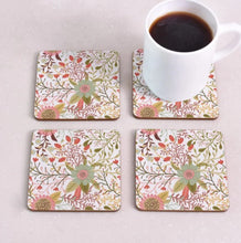 Load image into Gallery viewer, cork coasters on a table - flowery design 3