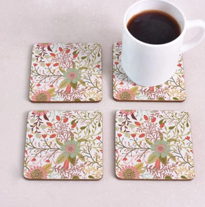 cork coasters on a table - flowery design 3