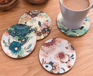 cork coasters on a table - flowery design 8