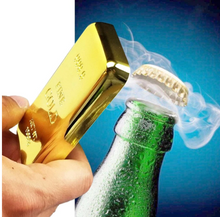 Load image into Gallery viewer, bottle opener in a golden bar shape