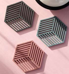 hexagon coasters on a table 2