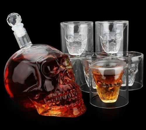 Crystal Skull Shot Glass + Skull Decanter