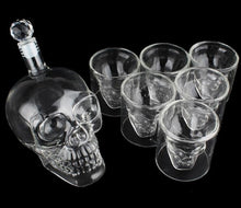 Load image into Gallery viewer, Crystal Skull Shot Glass + Skull Decanter