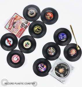 vinyl record coasters on a table