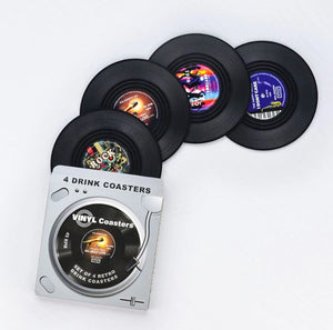 vinyl record coasters on a table 5