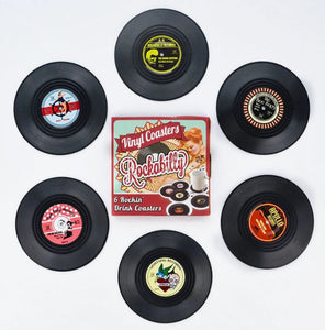 vinyl record coasters on a table 9