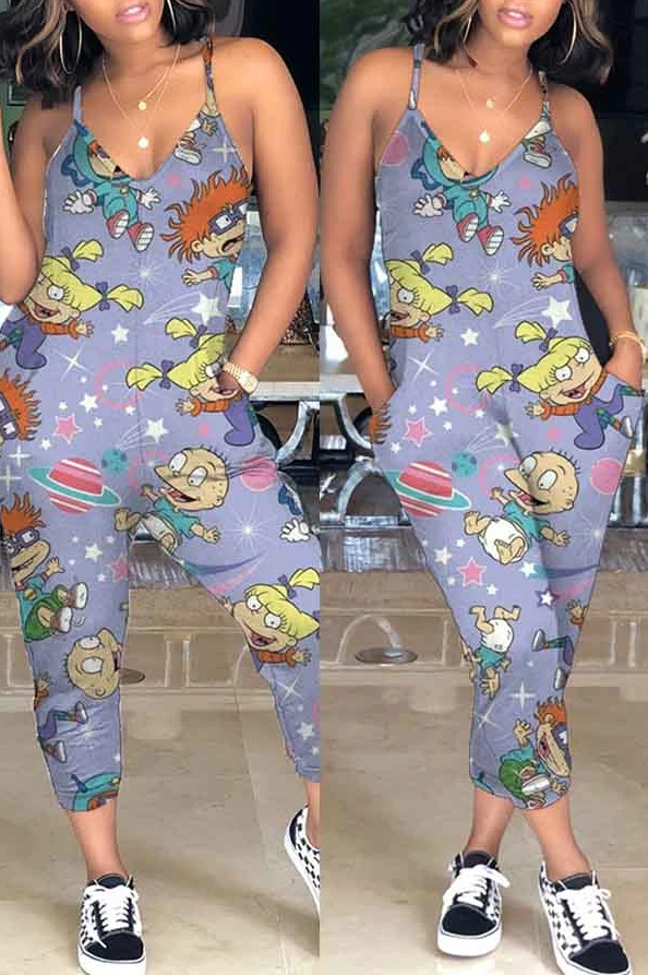 PansyGal Sleeveless Cartoon Print V Neck Casual Wear Jumpsuit