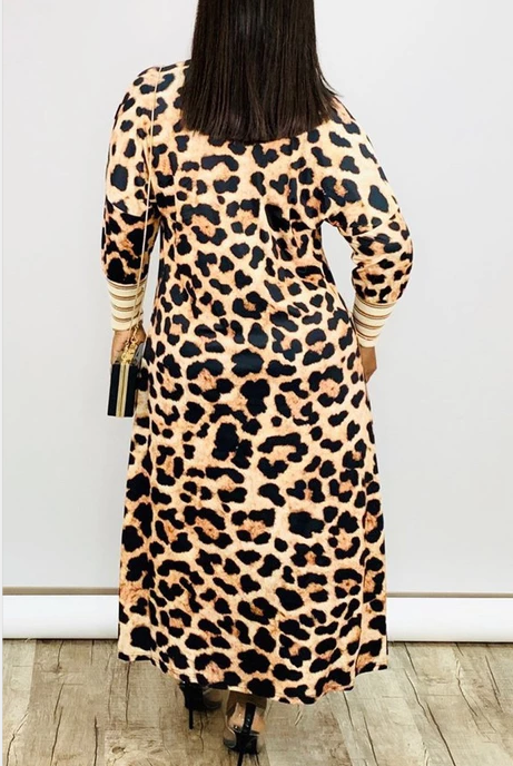 PansyGal Leopard Print Thicken Long Sleeve Cardigan