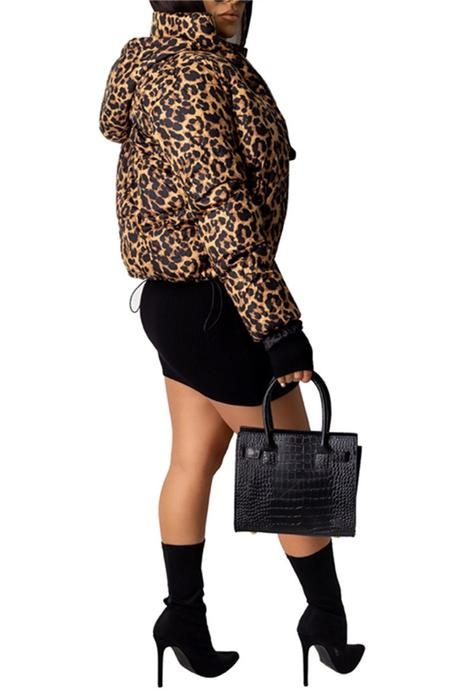 PansyGal Camouflage & Leopard Print Winter Coat