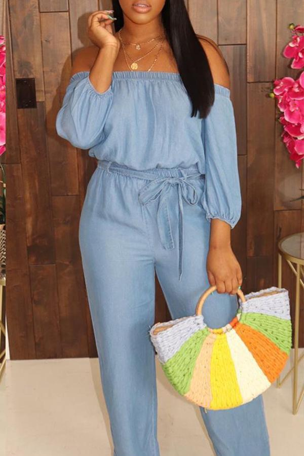 PansyGal Leisure Dew Shoulder Baby Blue One-piece Jumpsuit