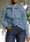 PansyGal Tied-Neck Denim Shirt