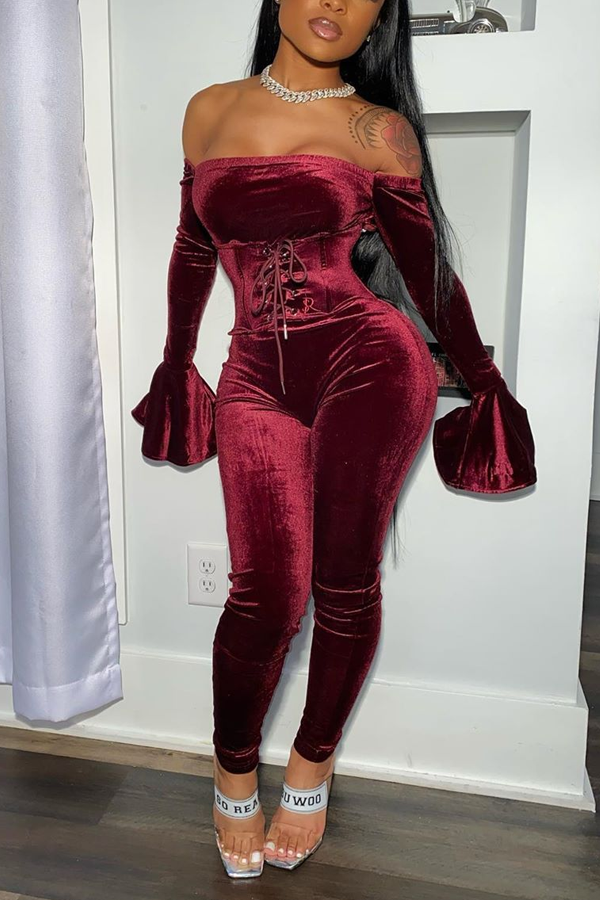 PansyGal Velour Waisted Jumpsuit