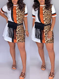 PansyGal Splicing Leopard Print Casual Shirt Dress