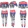 PansyGal Letters Print Crop Tops and Pants  Set