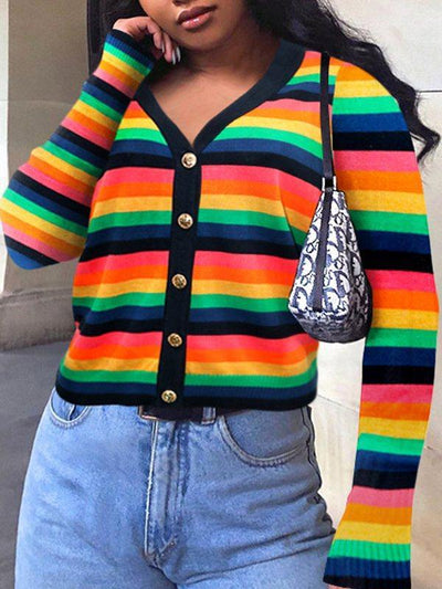 PansyGal Multicolor Stripe Cardigan