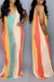 PansyGal Casual Striped Multicolor Floor Length Dress