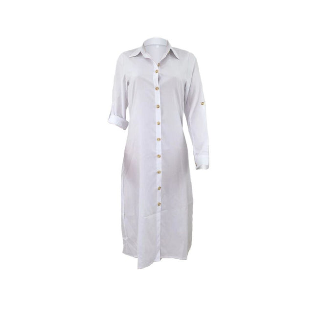 PansyGal Solid Color Button Up Shirt Dress Without Belt