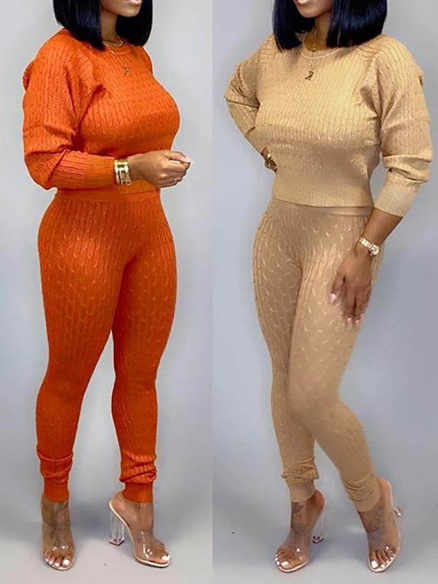 PansyGal Winter Crop Tops Sweater and Knitting Pants Sets