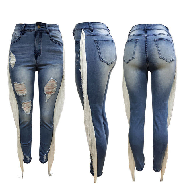 Pansygal Ripped Holes Women Jeans with Tassels