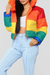 PansyGal Casual Striped Multicolor Cotton-padded Jacket