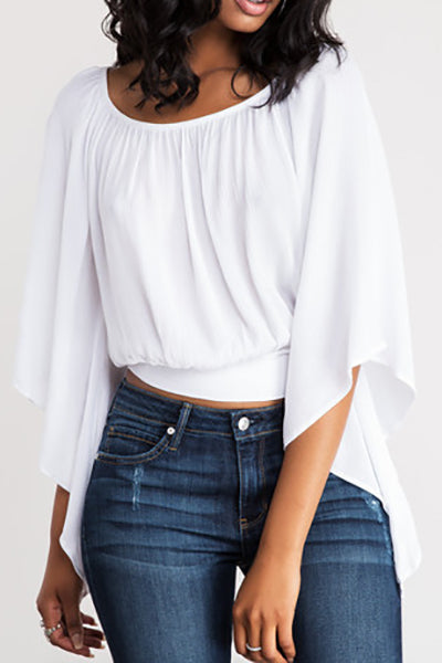 PansyGal Round Neck Three Quarter Sleeves Backless White T-shirt