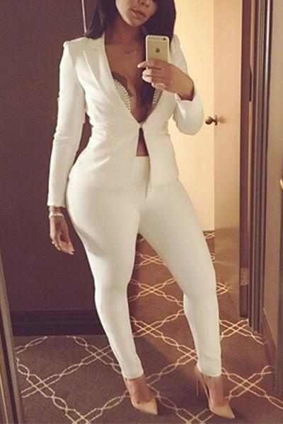 PansyGal V Neck Long Sleeves White Two-piece Pants Set
