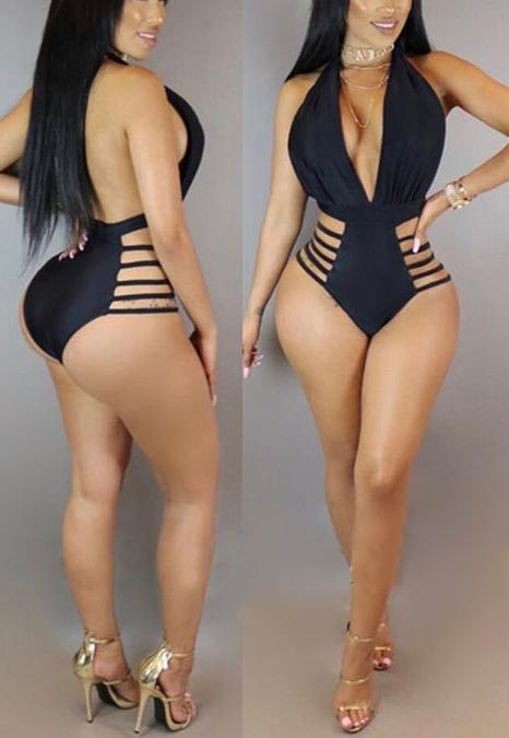 PansyGal Ployester Solid One Pieces