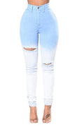PansyGal Broken Holes Gradient Design Denim Jeans