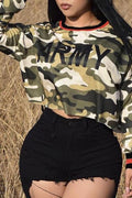 PansyGal Casual Camouflage Printed Army Green T-shirt