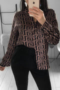 PansyGal Casual Printed Coffee Blouses