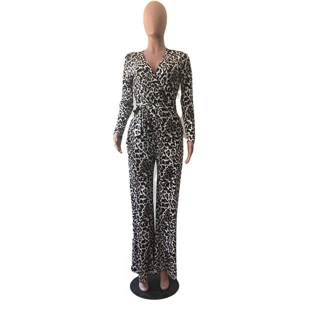 PansyGal V-Neck Leopard Print Pocket Wide Leg Jumpsuit