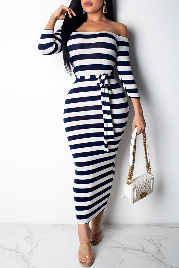 PansyGal Casual Off The Shoulder Striped Ankle Length Dress