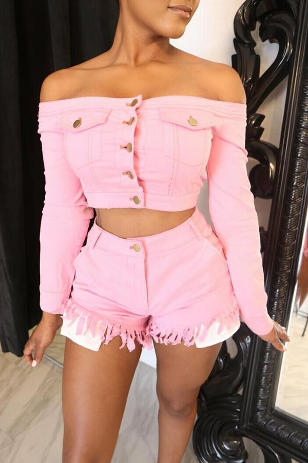 Pansygal Chic Open Front With Buttons Pink Two-piece Shorts Set