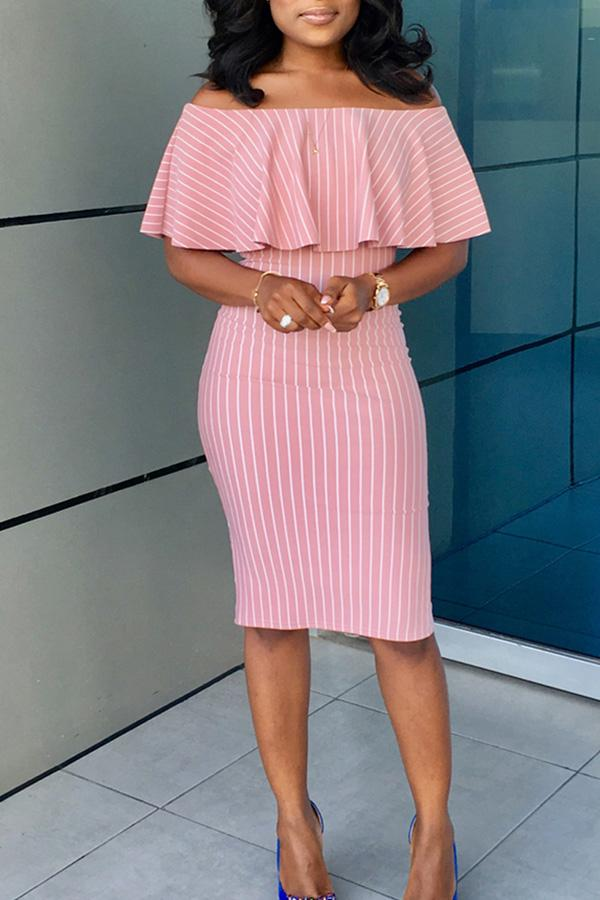PansyGal Off The Shoulder Striped Knee Length Dress