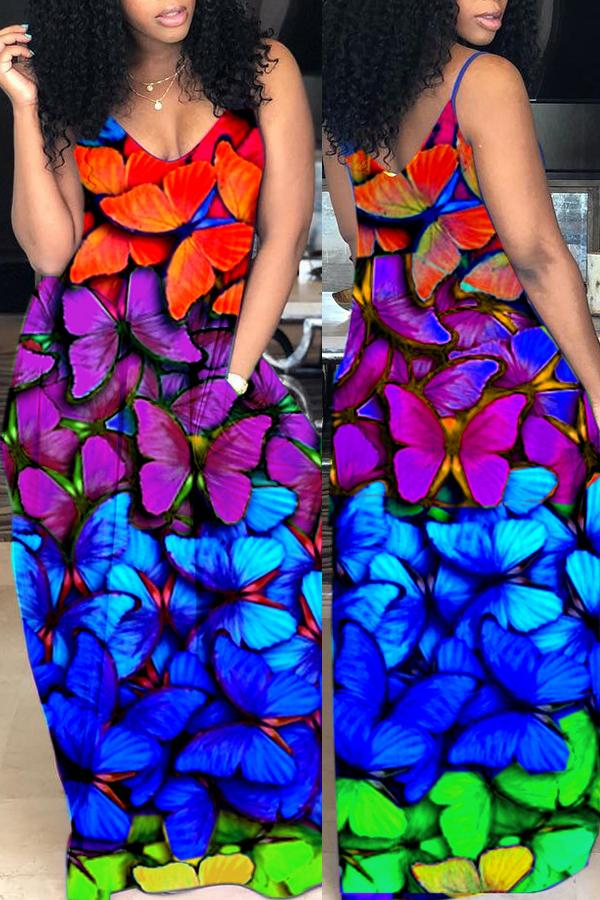 PansyGal Casual Butterfly Printed Floor Length Dress