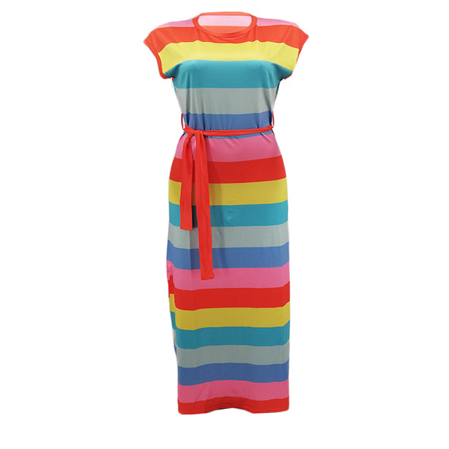 PansyGal Casual Striped Printed Floor Length Dress