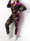 PansyGal Camouflage Print Striped Two Piece Outfits