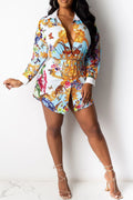 PansyGal Casual Printed Shirt Dress
