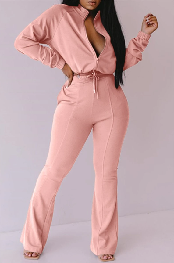 PansyGal Solid Color Wrap Zipper Jumpsuit